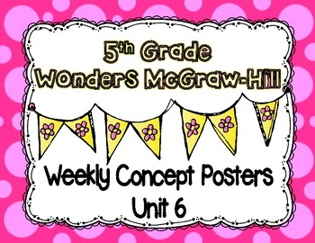 Wonders McGraw Hill 5th Grade Weekly Concept Posters - Unit 6
