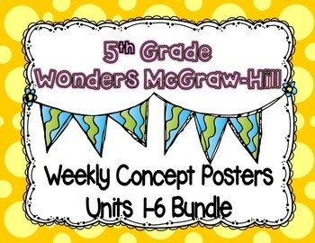 Wonders McGraw Hill 5th Grade Weekly Concept Posters - Units 1-6 Bundle