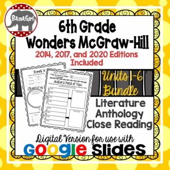 Wonders McGraw Hill 6th Grade Close Read Literature Anthology Units 1-6 DIGITAL
