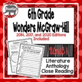 Wonders McGraw Hill 6th Grade Close Reading (Literature Anthology Book) - Unit 1