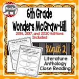 Wonders McGraw Hill 6th Grade Close Reading (Literature Anthology Book) - Unit 2