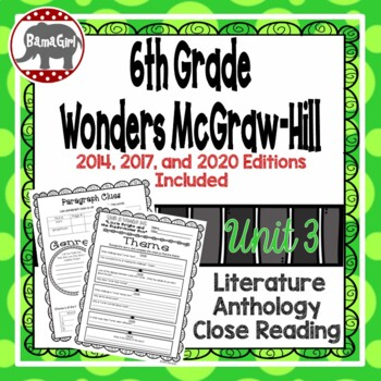 Wonders McGraw Hill 6th Grade Close Reading (Literature Anthology Book) - Unit 3