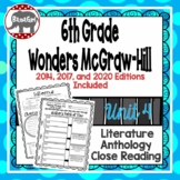 Wonders McGraw Hill 6th Grade Close Reading (Literature Anthology Book) - Unit 4