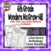 Wonders McGraw Hill 6th Grade Close Reading (Literature Anthology Book) - Unit 5