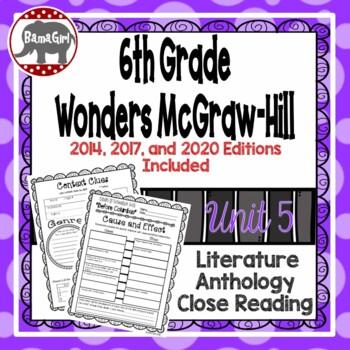 Wonders McGraw Hill 6th Grade Close Reading (Literature Anthology Book) - Unit 5