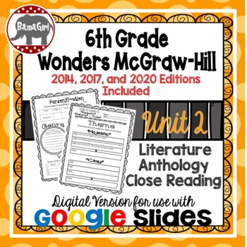 Wonders McGraw Hill 6th Grade Close Reading Literature Anthology Unit 2 DIGITAL
