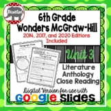 Wonders McGraw Hill 6th Grade Close Reading Literature Anthology Unit 3 DIGITAL