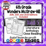 Wonders McGraw Hill 6th Grade Close Reading Literature Anthology Unit 5 DIGITAL