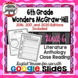 Wonders McGraw Hill 6th Grade Close Reading Literature Anthology Unit 6 DIGITAL