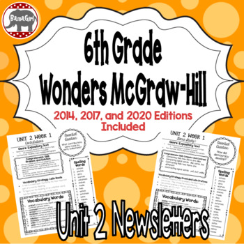 Wonders McGraw Hill 6th Grade Newsletter/Study Guide - Unit 2
