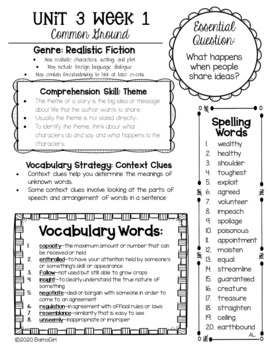 Wonders McGraw Hill 6th Grade Newsletter/Study Guide - Unit 3