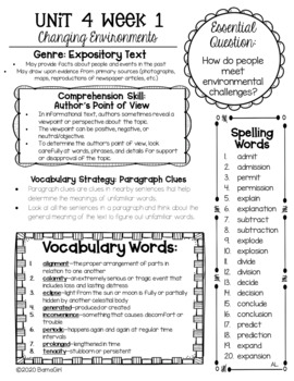 Wonders McGraw Hill 6th Grade Newsletter/Study Guide - Unit 4