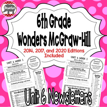 Wonders McGraw Hill 6th Grade Newsletter/Study Guide - Unit 6