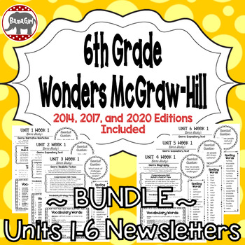 Wonders McGraw Hill 6th Grade Newsletter/Study Guide - Units 1-6 **Bundle**