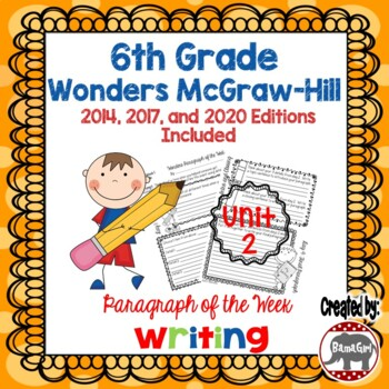 Wonders McGraw Hill 6th Grade Paragraph of the Week - Unit 2