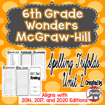 Wonders McGraw Hill 6th Grade Spelling Trifolds - Unit 2