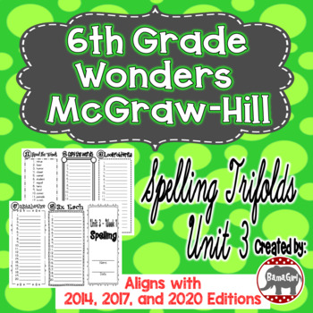 Wonders McGraw Hill 6th Grade Spelling Trifolds - Unit 3