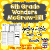 Wonders McGraw Hill 6th Grade Spelling Trifolds - Units 1-6 **Bundle**