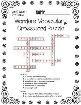 Wonders McGraw Hill 6th Grade Vocabulary Crossword Puzzles - Unit 1