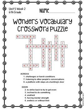 Wonders McGraw Hill 6th Grade Vocabulary Crossword Puzzles - Unit 5