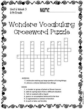 Wonders McGraw Hill 6th Grade Vocabulary Crossword Puzzles - Unit 6