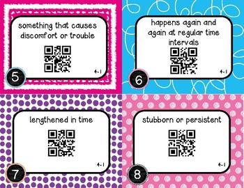 Wonders McGraw Hill 6th Grade Vocabulary QR Code Flashcards - Unit 4