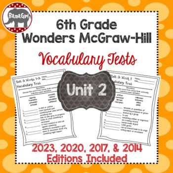 Wonders McGraw Hill 6th Grade Vocabulary Tests - Unit 2