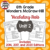 Wonders McGraw Hill 6th Grade Vocabulary Tests - Unit 2