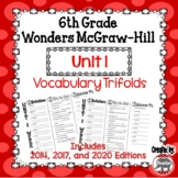 Wonders McGraw Hill 6th Grade Vocabulary Trifold - Unit 1