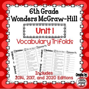 Wonders McGraw Hill 6th Grade Vocabulary Trifold - Unit 1