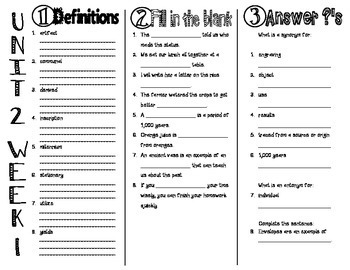 Wonders McGraw Hill 6th Grade Vocabulary Trifold - Unit 2