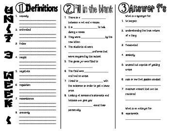 Wonders McGraw Hill 6th Grade Vocabulary Trifold - Unit 3