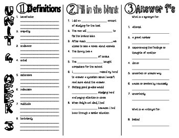 Wonders McGraw Hill 6th Grade Vocabulary Trifold - Unit 4
