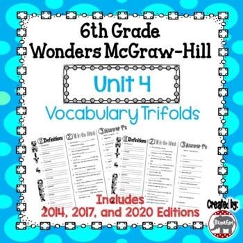 Wonders McGraw Hill 6th Grade Vocabulary Trifold - Unit 4