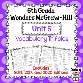 Wonders McGraw Hill 6th Grade Vocabulary Trifold - Unit 5