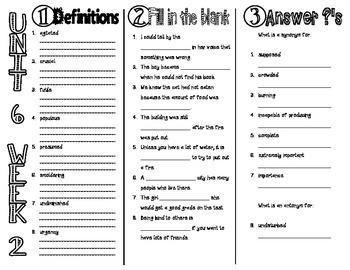 Wonders McGraw Hill 6th Grade Vocabulary Trifold - Unit 6