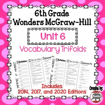 Wonders McGraw Hill 6th Grade Vocabulary Trifold - Unit 6