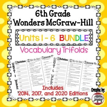 Wonders McGraw Hill 6th Grade Vocabulary Trifold - Units 1-6 **Bundle**