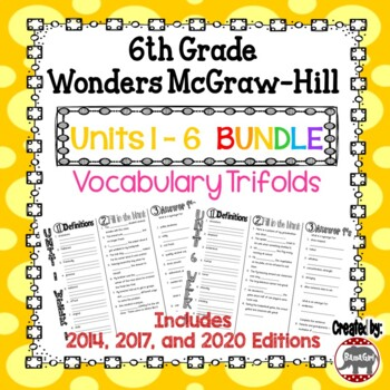 Wonders McGraw Hill 6th Grade Vocabulary Trifold - Units 1-6 **Bundle**
