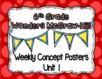 Wonders McGraw Hill 6th Grade Weekly Concept Posters - Unit 1
