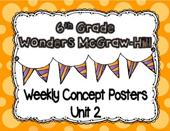 Wonders McGraw Hill 6th Grade Weekly Concept Posters - Unit 2