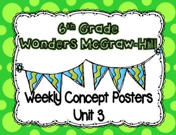 Wonders McGraw Hill 6th Grade Weekly Concept Posters - Unit 3