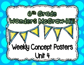 Wonders McGraw Hill 6th Grade Weekly Concept Posters - Unit 4