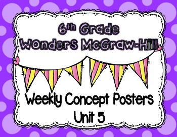 Wonders McGraw Hill 6th Grade Weekly Concept Posters - Unit 5