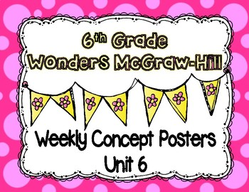 Wonders McGraw Hill 6th Grade Weekly Concept Posters - Unit 6