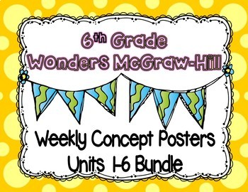 Wonders McGraw Hill 6th Grade Weekly Concept Posters - Units 1-6 Bundle