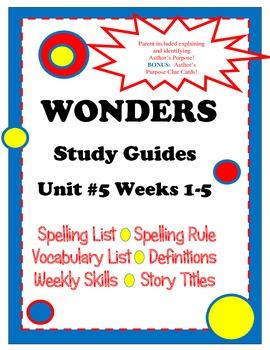 Wonders McGraw Hill Grade 2 Unit #5 Study Guides