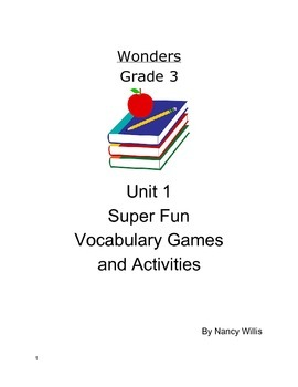 Wonders McGraw Hill Grade 3 Really Fun Vocabulary Activities Unit 1 Weeks 1-5