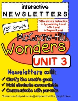 Wonders McGraw Hill Interactive Newsletter Unit 3 ALL LEVELS
