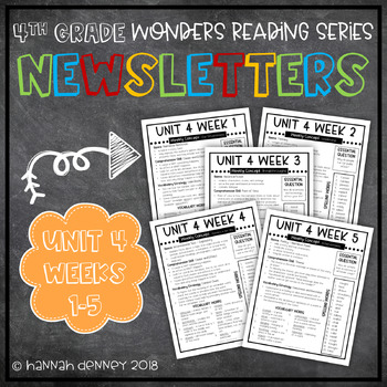 Wonders McGraw Hill Newsletters 4th Grade Unit 4 Weeks 1-5